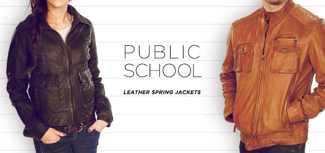 Public School Leather Spring Jackets for Him & Her