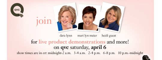 join for live product demonstrations and more! on qvc saturday, april 6