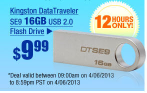$9.99 -- Kingston DataTraveler SE9 16GB USB 2.0 Flash Drive