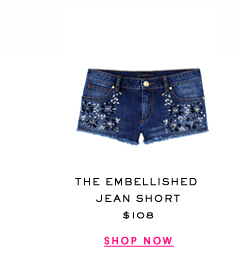 The Embellished Jean Short at $108. Shop Now.