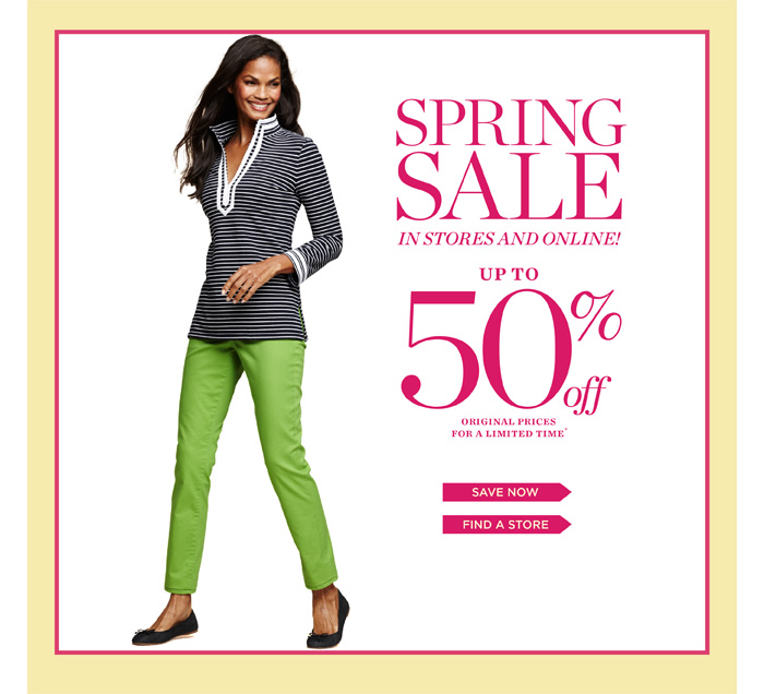 Spring Sale in Stores and Online! Up to 50% off Original Prices for a Limited Time. Save Now. Find a Store.