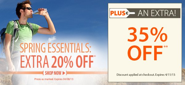 Spring Essentials! An EXTRA 20% OFF select items!