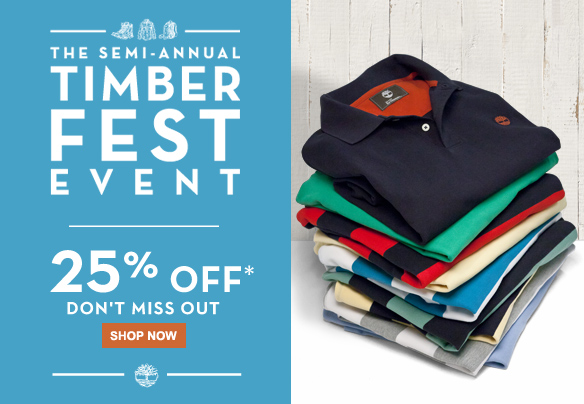 The semi-annual Timberfest Event. 25% off.* Don't miss out. Shop Now
