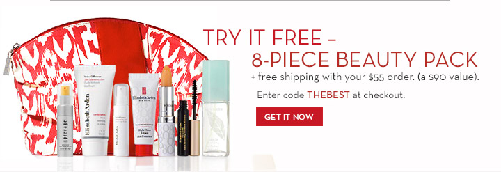 TRY IT FREE – 8-PIECE BEAUTY PACK + free shipping with your $55 order. (a $90 value). Enter code THEBEST at checkout. GET IT NOW.