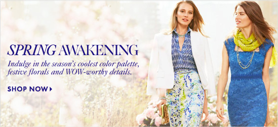 SPRING AWAKENING       Indulge in the season's coolest        color palette, festive florals        and WOW–worthy details.