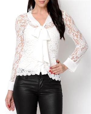 Miss Finch Lace Long Sleeve Blouse