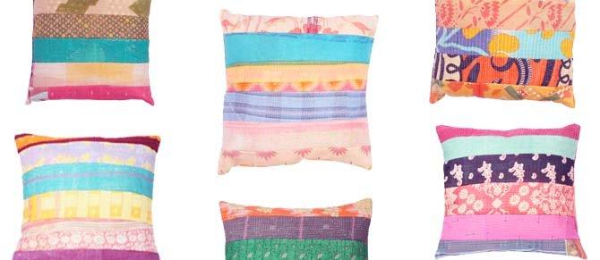 Melange Home Kantha Pillows