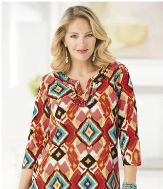 Ikat Print Knit Waisted Tunic by Ulla Popken
