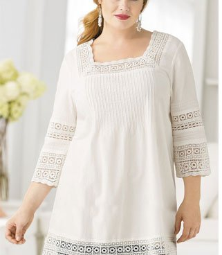 Lace-framed Boho Tunic by Ulla Popken