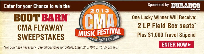 2013 CMA Music Festival - CMA Flyaway Sweepstakes, One Lucky Winner Will Receive: 2 LP Field Box Seats, Plus $1,000 Travel Stipend