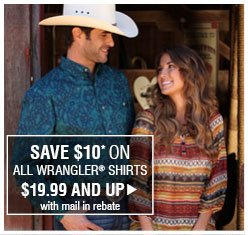 Save $10 On All Wrangler® Shirts $19.99 And Up - with mail in rebate