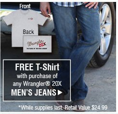 Free T-Shirt with purchase of Wrangler® 20X Men's Jeans