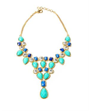 Amrita Singh Resin Stone & Austrian Crystal  Embellished Bib Necklace