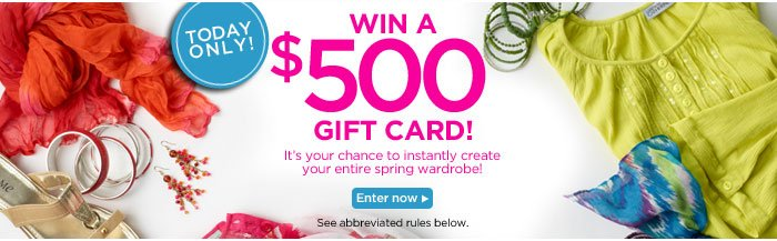 Enter for a chance to win a $500 Gift Card!