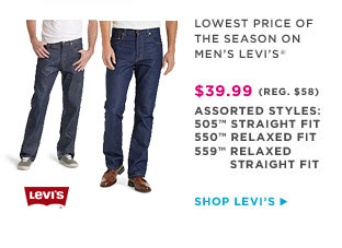 LOWEST PRICE OF THE SEASON ON MEN'S LEVI'S | SHOP LEVI'S
