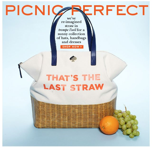 picknic perfect. we've re-imagined straw in trompe l'oeil for a sunny collection. shop now.