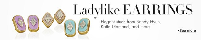 Elegant stud earrings from Sandy Hyun, Katie Diamond, MELINDA MARIA, and more.