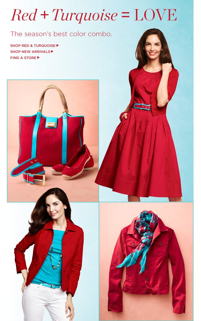 RED + TURQUOISE = LOVE. The season's best color combo. Shop our red and turquoise collection now.