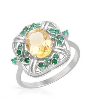 Ladies Citrine Ring Designed In 925 Sterling Silver
