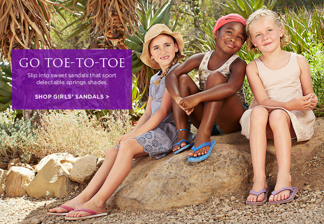 Go toe-to-toe - Slip into sweet sandals that sport delectable springs shades. Shop girls' sandals >