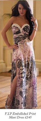 V I P Embellished Print Maxi Dress