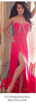 V I P Embellished Bust Maxi Dress