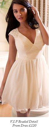 V I P Beaded Detail Prom Dress