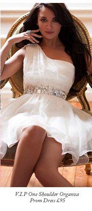 V I P One Shoulder Organza Prom Dress