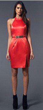 Peplum Metal Plate Shift Dress