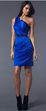 One Shoulder Pleated Shift Dress