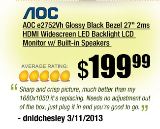 AOC e2752Vh Glossy Black Bezel 27 inch 2ms HDMI Widescreen LED Backlight LCD Monitor w/ Built-in Speakers