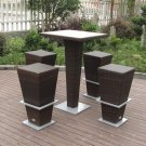 5-Piece Brown/Teak Bar Set