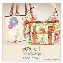 50% off handbags**. Shop now.