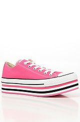 The Layer Cake Platform Sneaker in Pink and White
