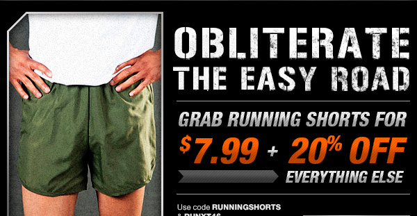 Grab running shorts for $7.99 + 20% off everything else.