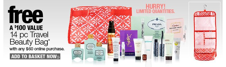 Free 14 pc Travel Beauty Bag with any $60 online purchase. A $100 Value.