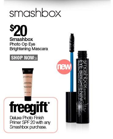New Smashbox Photo Op Brightening Mascara $20. Free Deluxe Photo Finish Primer SPF 20 with any Smashbox purchase.