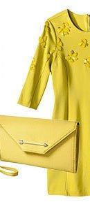 yellow dress and purse