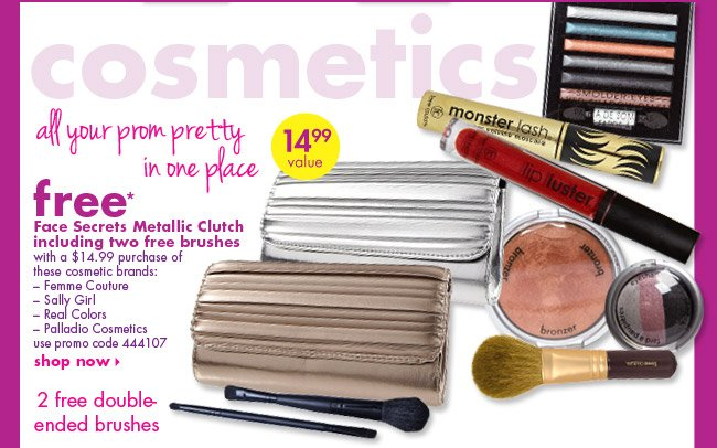 free* Face Secrets Metallic Clutch including two free brushes