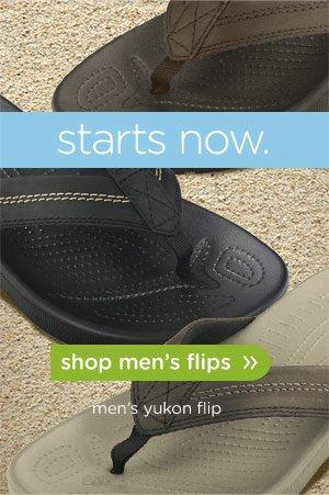starts now. shop men's flips