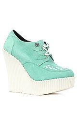 The Sole Creeper Wedge in Mint and White Suede Interlace
