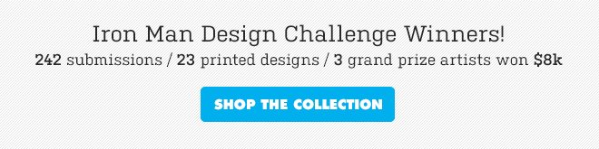 Iron Man Design Challenge Winners - 242 submissions / 23 printed designs / 3 grand prize artists won $8k - Shop the collection