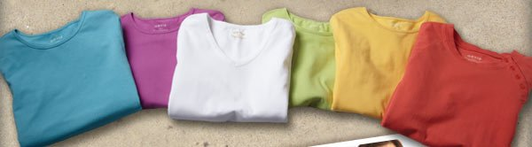 The most comfortable tees we offer, with just enough stretch to keep their color and shape season after season. Now in three styles and six fresh colors for summer!