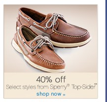 40% off Select styles from Sperry® Top-Sider**. Shop now.