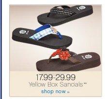 17.99-29.99 Yellow Box Sandals**. Shop now.