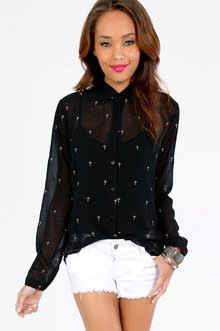 Higher Power Button Front Blouse $37