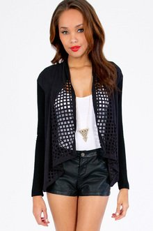 Laser Beamed Drape Cardigan $33