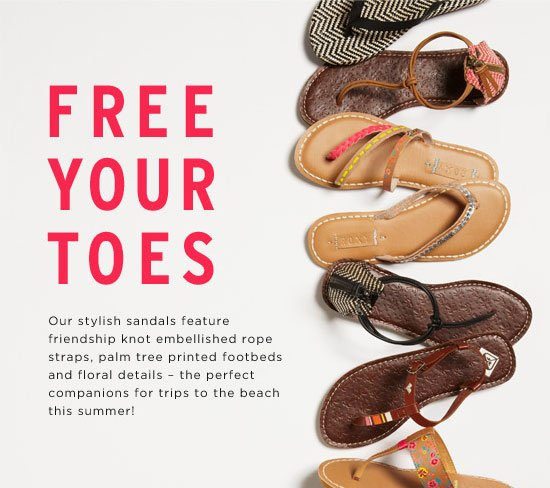 Free Your Toes. Our stylish sandals feature a friendship knot embellished rope strap and a palm tree printed footbed - the perfect companion for trips to the beach this summer