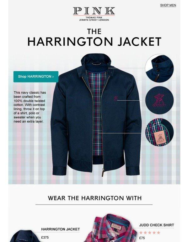fae2bdee Thomas Pink: New | The Harrington Jacket | Effortless Style for Spring |  Milled