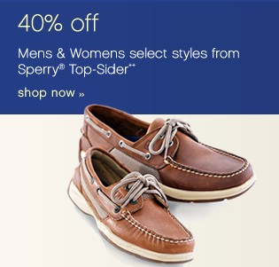 40% off Mens & Womens select styles from Sperry® Top-Sider** Shop now.